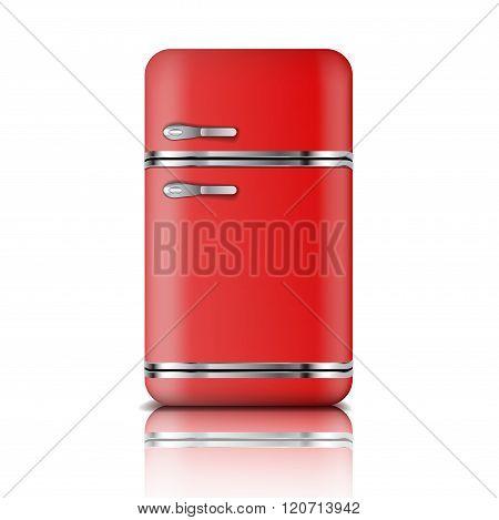 Retro Fridge Refrigerator In Red Retro Color
