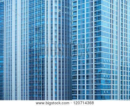 View of blue, rich skyscraper condo in Thailand.