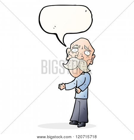 cartoon lonely old man with speech bubble