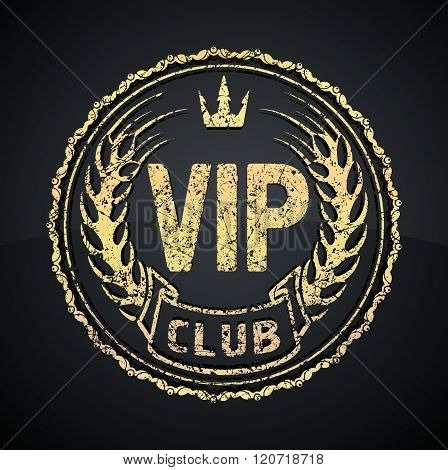 Vip Club Icon Or Logo Design With Crown And Ears In Gunge Style. Gold On A Black Background.