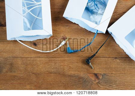 Three Opened Envelopes And  Cables Mini Plug