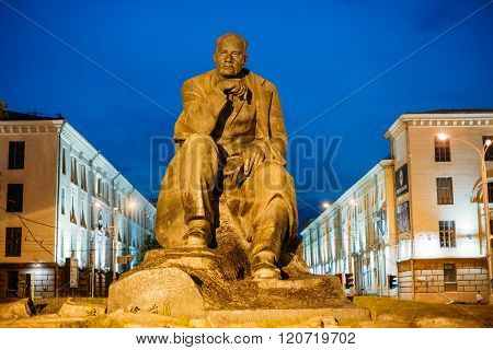 Monument In Honor Of National Poet And Writer Of Belarus Yakub Kolas In Minsk, Belarus