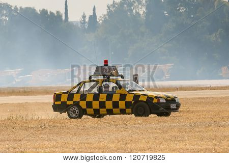 Athens, Greece 13 September 2015. Security car in the field at the Athens air week flying show.
