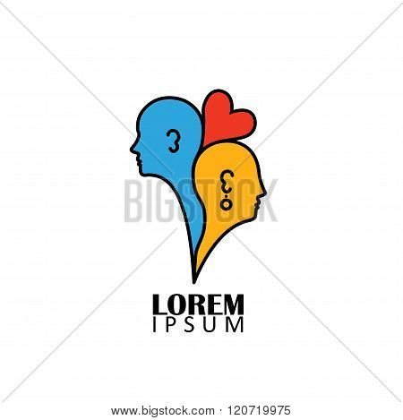 Concept Of Love And Bonding Vector Graphic Icon On White