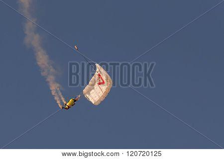 Athens, Greece 13 September 2015. Rex Pemberton doing his aerobatic show.