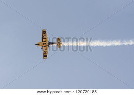 Athens, Greece 13 September 2015. Close up of an aviator plane doing aerobatics.