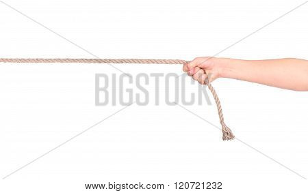 Close Up Of Hands Pulling A Rope On White Background With Clippi