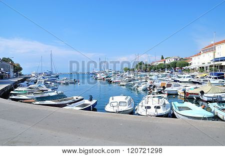 Harbor of Malinska on Krk Island at adriatic Sea,Kvarner,Croatia