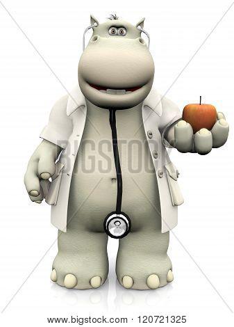Cartoon Hippo Doctor Holding An Apple.
