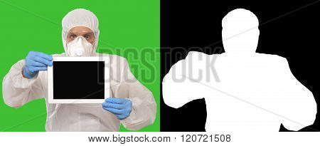 Medical Researcher Shows Tablet
