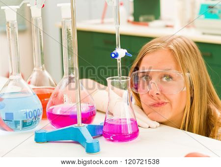 Frustrated Young Student On Chemistry