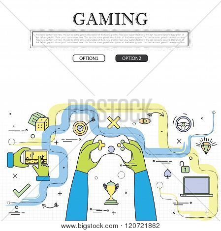 Line Drawing Of Concept Of Gaming Vector Graphic.