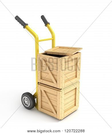 Wood Boxes On A Hand Truck Isolated On White