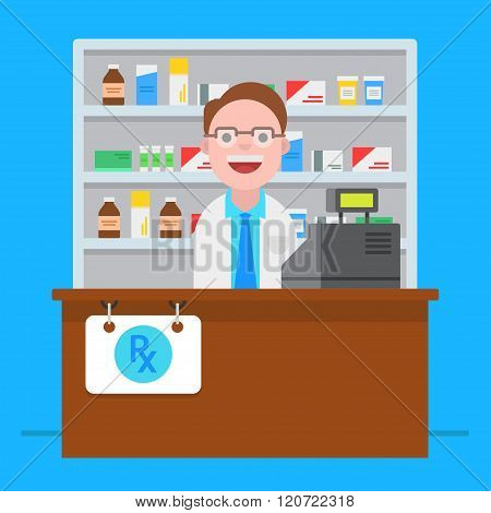 Pharmacist Vector Illustration