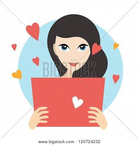 Teanager Girl Reading A Love Letter.