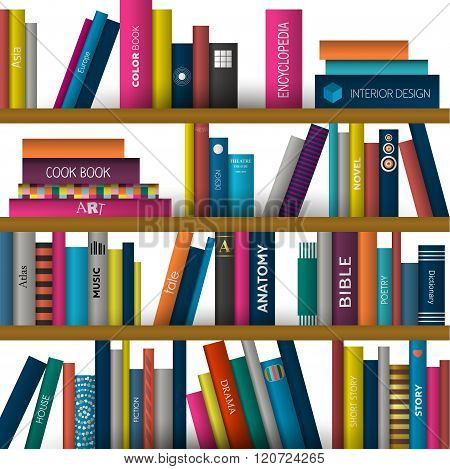 Book Shelf. Realistic Vector Illustration. Bookstore Indoor.