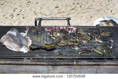 grilling seafood assortment of fish, shells of molluscs
