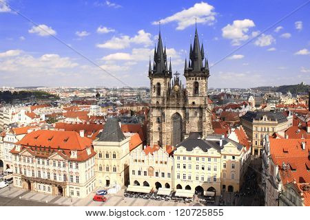 Famous Tyn Church on Old Town Square, Prague, Czech Republic