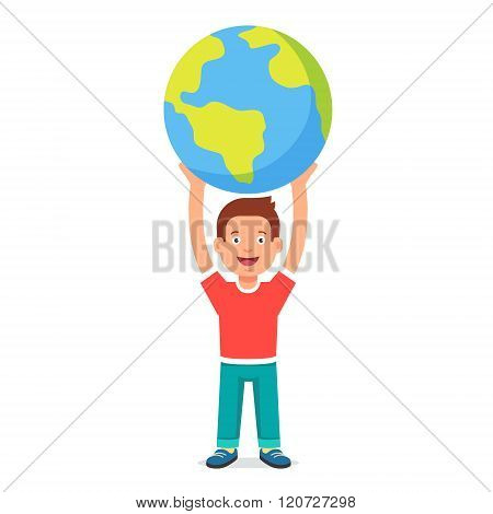 Young boy kid holding planet earth