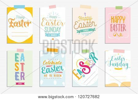 Happy Easter cards set. Vector typography with drawn elements.