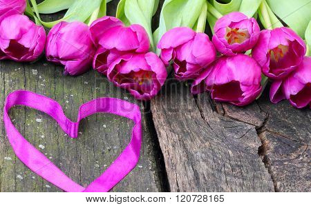 Tulips And Heart For Valentine's Day