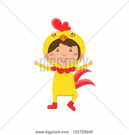 Child Wearing Costume of Chicken. Vector Illustration