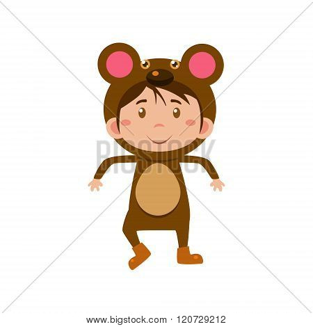 Child Wearing Costume of Bear. Vector Illustration