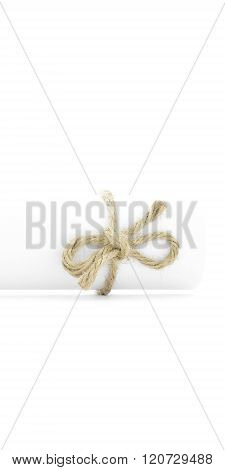 Handmade Natural String Knot Tied On White Letter Package Isolated