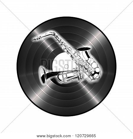 saxophone and trumpet on the background of vinyl
