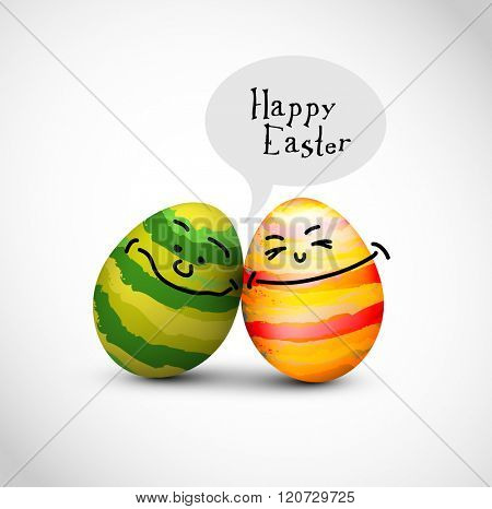 Funny decorated easter eggs with a speech bubble saying Happy Easter