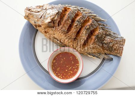 Fried red tilapia fish