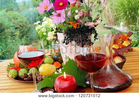 Red Wine In Late Summer On The Terrace