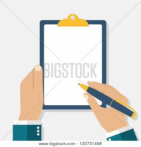 Man Holds A Clipboard And Writes. Empty Blank. Pen In Hand.
