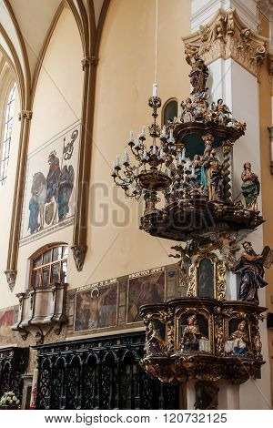 The pulpit in the church of the Exaltation of the Holy Cross in Prostejov