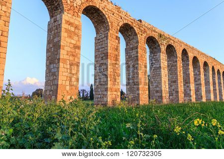 Remains of an ancient Roman aqueduct