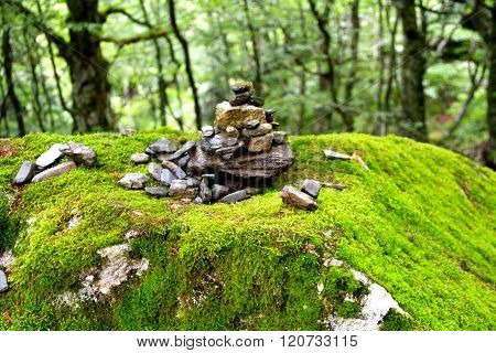 Small heap of pebbles in a Pyrenean forest, France,