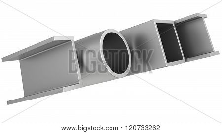 stainless steel pipes and profiles on a white background