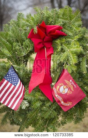 SUCCASUNNA, NJ-DEC 12, 2015: Close up view of the U.S. Marine Corps ceremonial wreath at the 2015 nationwide Wreaths Across America event between the First Presbyterian and United Methodist churches.