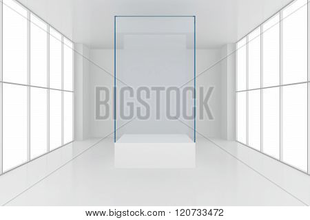 display case. 3d render showcase in white room with windows