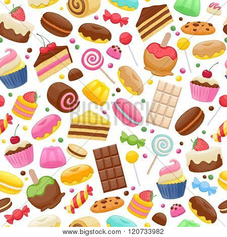 Assorted sweets colorful seamless background.