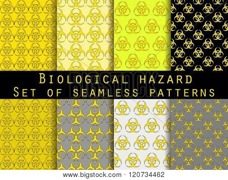 Set Of Seamless Patterns With Biohazard Symbol. For Wallpaper, Bed Linen, Tiles, Fabrics, Background