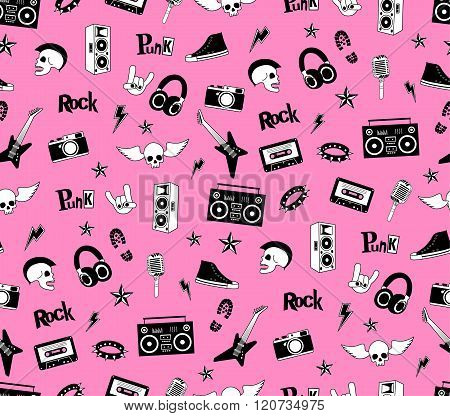 Seamless pattern. Punk rock music isolated on pink background. Doodle style elements, emblems, badge