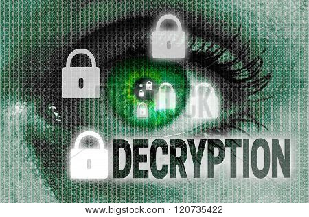 Decryption Eye Looks At Viewer Concept
