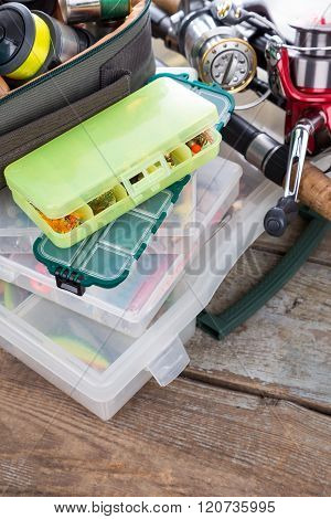 Fishing Tackles And Baits In Box