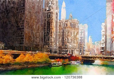 Beautiful Watercolor Painting Of Chicago skyline