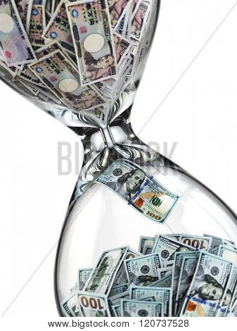 Yen dollar stock exchange concept. Sandglass and banknotes. 3d