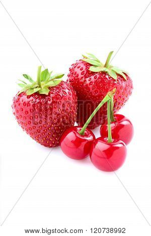 Strawberries With Cherries Isolated.