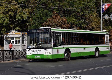 ROSTOV-ON-DON, RUSSIA - SEPTEMBER 28, 2015: Bus on line 3 in an autumn day. There are about 50 bus lines in the city