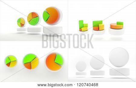 Infographic presentation, design data finance. Circles, shapes with empty space
