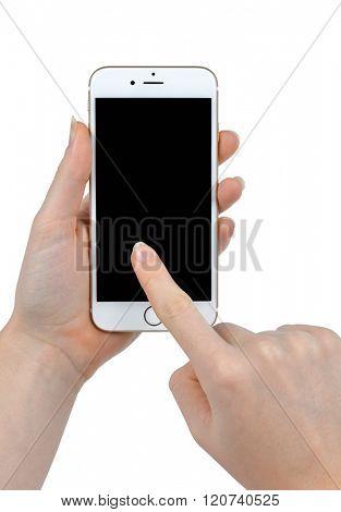 Plzen,Czech Republic - January 10, 2016 : Woman Hand Holding Apple iPhone 6 Smart Phone